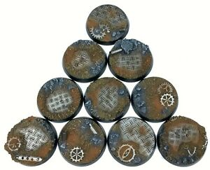 Ruined Factory - Round Resin Bases 32mm-10 Painted/Unpainted Bases for Warhammer