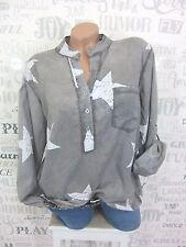 ITALY Bluse Tunika Hemd Fischerhemd STERN PRINT BATIK 38 40 42 Grau EF63
