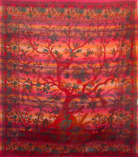 XL stripey cotton RED TREE OF LIFE king size BED SOFA COVER spread bedspread!!!!