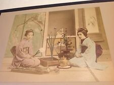 """1897 JAPANESE ALBUMEN HAND TINTED PHOTOGRAPH """"ARRANGING FLOWERS"""" (120 YEARS OLD)"""