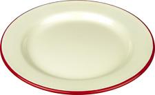 Falcon Enamel Round Pie Baking Dinner Plate Cream with Red Trim 26cm