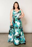 Plus Size Maxi Dress Sleeveless Polyester Blend A-Line 6X SWAK Tropical Blue
