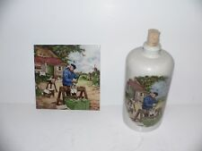 """Royal Mosa Holland Clog Cobbler 6""""Tile & Matching Bottle Signed By J.C.Hunnik"""