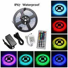 5M SMD RGB 5050 IP67 Waterproof 300 LED Strip Light 44 Key Remote 12V Power Kit