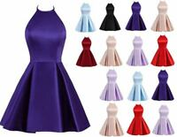 New Short Satin Bridesmaid Prom Dress Formal Evening Party Ball Gown Stock 6-20