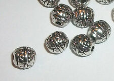8mm Antique silver pewter carved spacer beads -- 40 pieces (1233)