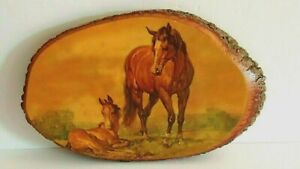 "Horse With Colt Wooden Log Slice Wall Plaque Arkansas 12"" X 8"" KX-2 Made In USA"