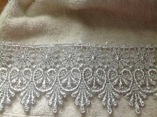 NEW MEDALLION PATTERN MET. SILVER VENISE LACE FABRIC TRIM