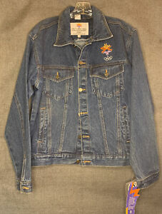 Vintage Olympic Winter Games Salt Lake 2002 Denim Jacket Embroidery NWT Sz Sm