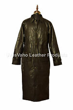 VINTAGE MENS BLACK DUSTER REAL LEATHER LONG TRENCH COAT JACKET