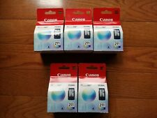 5 Brand New Genuine Canon 211 Color Ink Cartridges.  5C18G14