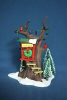 Dept 56 Clubhouse Treehouse Snow Village with Lights Birds Pine Trees Snow