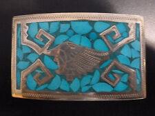 Ornate Turquoise Silverplate Belt Buckle