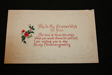 Vintage This Is My Christmas Wish To You Postcard Holly And A Saying   b