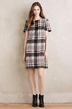 Anthropologie Womens Dress Size M Gray Frontier Plaid Line & Dot Wool Blend New