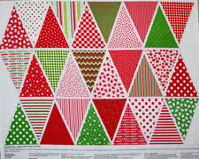 """Christmas Banner Bunting Flag Decoration Cotton Fabric Project PANEL 35""""X44"""""""