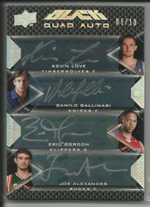 2008-09 UD Black Kevin Love Eric Gordon Gallinari Rookie Quad Auto /10 $RARE$