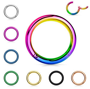 1pc Hinged Segment Ring Septum Clicker Hoop PVD over 316L Surgical Steel