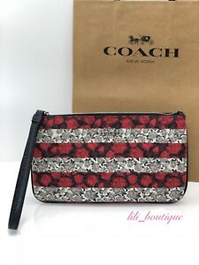 NWT Coach F30255 Large Wristlet Wallet Canvas Floral Rose Stripe Red Multi $125