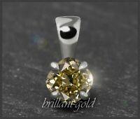 Diamant Damen Anhänger 585 Gold mit 0,34 ct, champagner, Si1; Weißgold Gleiter