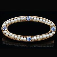 Victorian c-1900 Solid Yellow Gold, Sapphire & Seed Pearl Bar Pin/Brooch