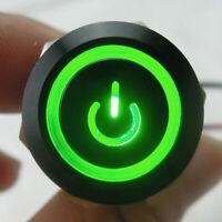 19mm 12V Auto Schalter Drucktaster Taster Druckschalter LED Beleuchtet Grün NEU