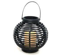 Black Lantern with Led Flickering Candle - 21cm