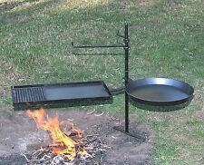 Firepit swing away BBQ kit 1m pole 540mm plate/grill 400mm frypan steel