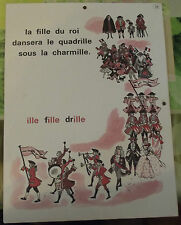 Ancienne Affiche Élocution Lecture MDI N°39/40 on,om,pompon,ille,fille,drille