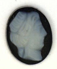Antique Carved Miniature Oval Black & White Cameo Stone 10 mm x 8 mm   #N632