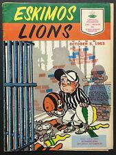 1963 CFL Football Program B.C. Lions vs Edmonton Eskimos Clarke Stadium Vintage