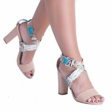 Strappy, Ankle Straps Animal Print Block Heels for Women