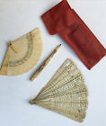 2 Chinese Antique Hand Fan Paintings Vintage Asian Old China And Pencil
