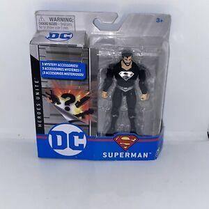 "DC Heroes Unite Superman 4"" Action Figure Black Beard & Suit Silver Variant NEW"