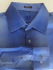 Bugatchi UOMO Men's Size L Large Blue Plaid Long Sleeve Shirt 100% Cotton