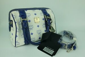 100% Authentic MCM White Blue Visetos 2way Hand and Crossbody Bag + Dust Bag