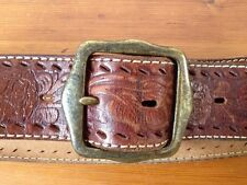 Abercrombie Fitch Handtooled Cowgirl Roses Western Chunky Leather Belt S-M 32