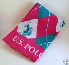 US POLO Association Assn Large Towel Pink Aqua Argyle