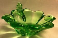 Murano Twisted Shell Green Art Glass Ashtray