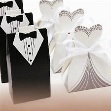 50/100/200PCS Bride and Groom Wedding Party Favor Candy Boxes Sweets Gift Ribbon