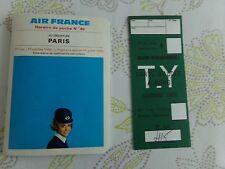ancien carnet horaire de poche n°49 Air France Paris 1969 carte d'accès à bord