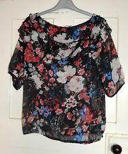 Next Ladies Black Floral Semi Sheer Top, Size; 18, VGC, Gypsy Style Neckline
