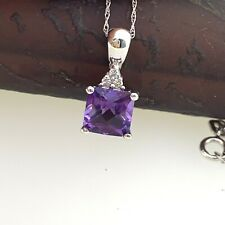 Amethyst and Diamond Dainty Pendant Necklace in Solid 14k White Gold