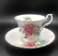 Vintage Royal Albert Signed Pink Rose Teacup And Saucer w/Gold Trim