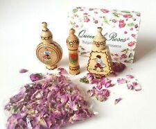Bulgarian ROSE oil perfume small gift box with 3 vials + Rose petals