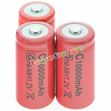 3x C size 1.2V 10000mAh Ni-MH Red Color Rechargeable Battery USA