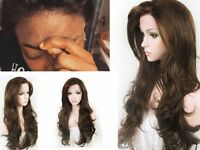 """Fashion Women Brown Wavy Heat Resistant Hair Synthetic Lace Front Wig 14""""-26"""""""