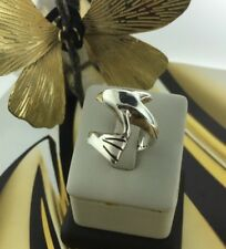 VINTAGE STERLING SILVER 925  DOLPHINE RING  Sz 8