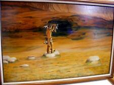 """Native American Indian Signed OIL PAINTING on Board Frame Tomahawk Southwest 30"""""""
