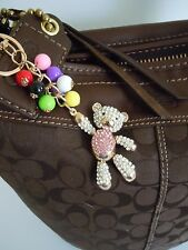 FABULOUS BLING Bear With Ballons Medal Alloy Purse Charm / Keychain